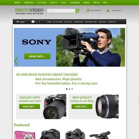 CS-Cart 3 Responsive Template cs300057 is specially designed for Photo and Video Cameras goods Store. Selling Photo and Video equipment from world famous brands: Hitachi, Panasonic, Tamron, Pentax, Canon, Sansung, Konica Minolta, Sigma, Kyocera, Tokina, Sharp, Sony, Nikon, Kodak, Olympus, Epson.