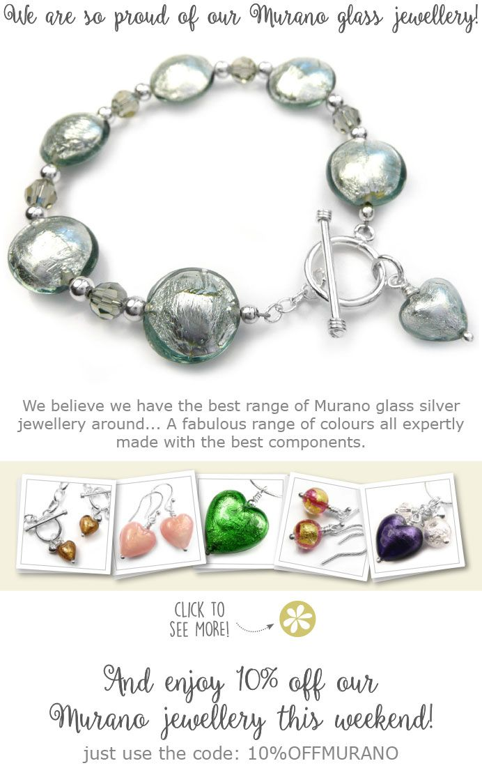 10% discount on all our Murano glass jewellery!