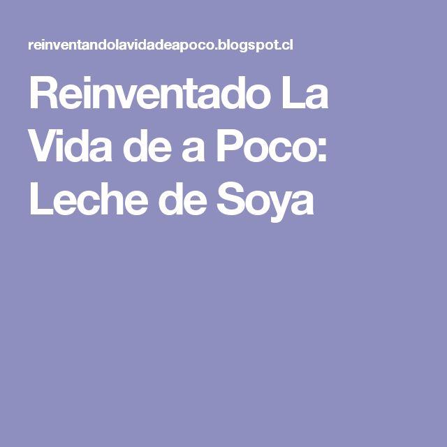 Reinventado La Vida de a Poco: Leche de Soya
