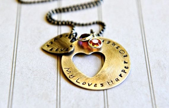 Mommy Necklace Heart Cut Out Necklace Hand by SevenBlueberries