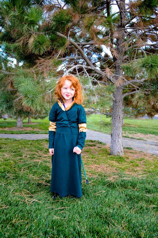 brave movie merida costume cosplay pixar disney princess green dress gold red hair redhead wig curly little girl 5 year old handmade diy make bow arrow cute