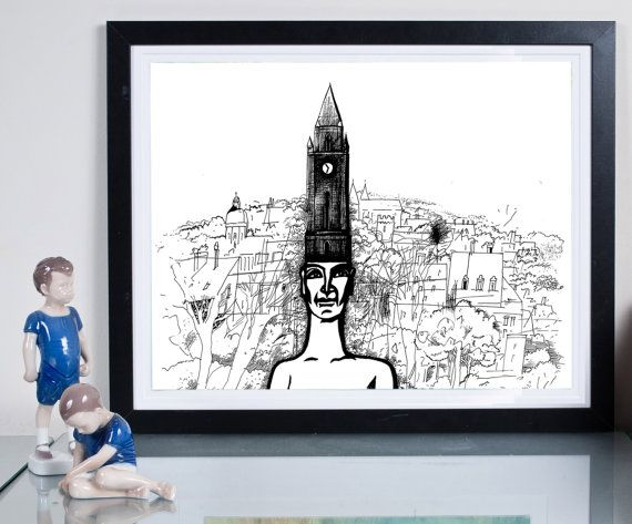 hometown ... Illustration Art giclée print Signed by Tomek Wawer #drawing #black #head