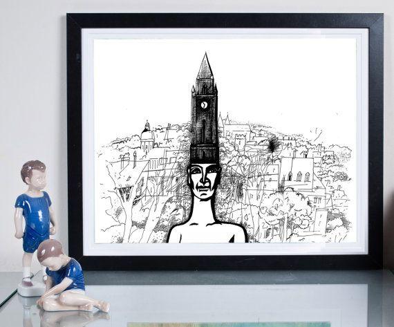hometown ... Illustration Art giclée print Signed by Tomek Wawer #drawing #black #head