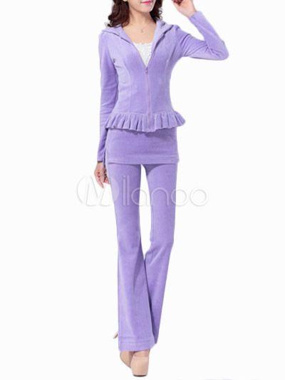 Velluto viola maniche lunghe atletico Activewear Set per le donne - Milanoo.com