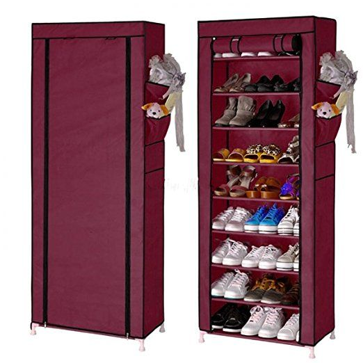 10tier canvas fabric shoe rack storage cabinet with dustproof cover hold up to