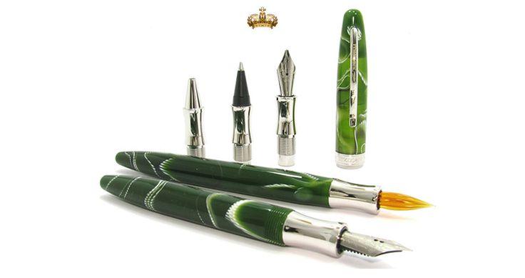 Visconti Arte della Scrittura Striped Green Calligraphy Set