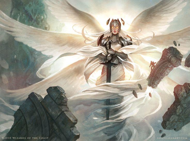 MtG card art by Jason Chan: Iona, Shield of Emeria.  Game over, man!