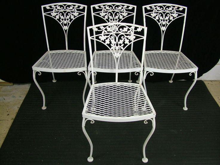 Set 4 Vintage 1950 S Woodard Acorn Wrought Iron Patio Garden Dining