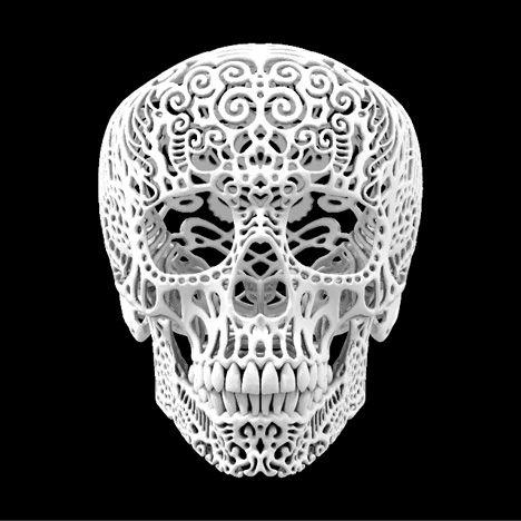 SKull skULL SkuLL: Skulls, Joshua Harker, Stuff, Art, Of The, Filigree Skull, Dead, Day, 3D Printing