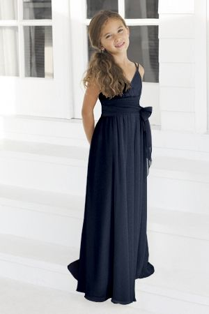 Charmeuse Bow,Spaghetti Straps,V-neck Style 45 Junior Bridesmaid Dress by Alexia Designs
