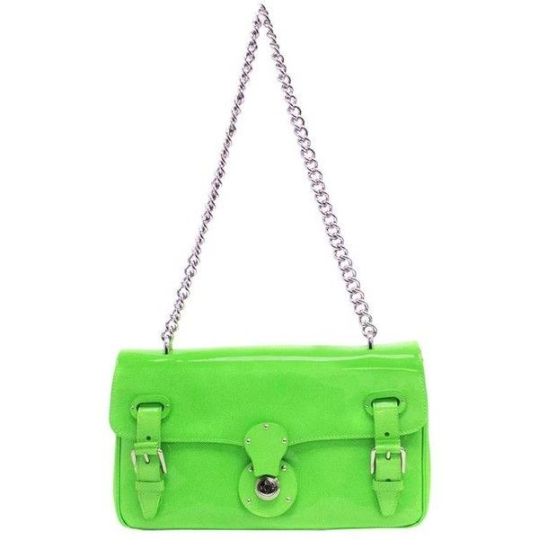 Preowned Ralph Lauren 'ricky' Neon Green Shoulder Bag ($230) ❤ liked on Polyvore featuring bags, handbags, shoulder bags, green, white patent leather purse, green shoulder bag, neon green purse, ralph lauren shoulder bag and green purse