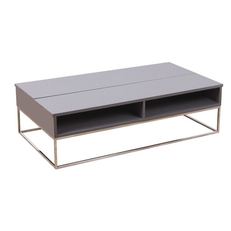 Coffee Table Open Out Top 2 Shelves For Magazines Books Modern Design Furniture