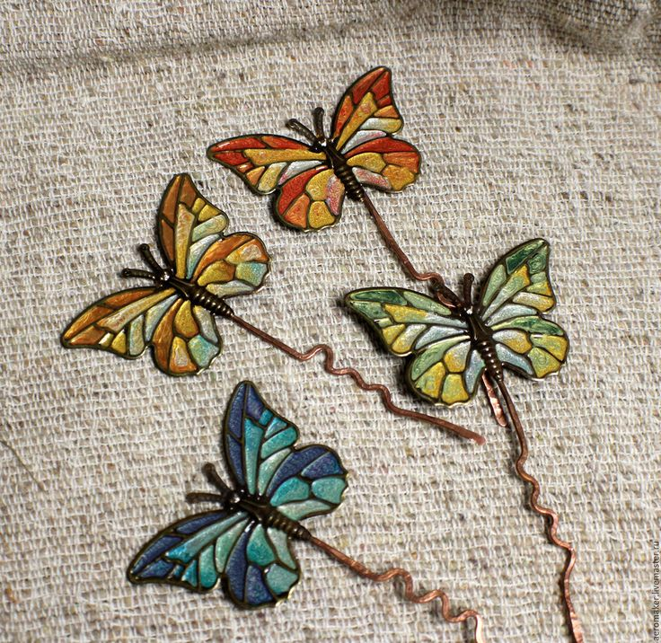 Купить Шпильки Бабочки - комбинированный, разноцветный, бабочки, цветные сны, шпильки бабочки, заколка бабочка