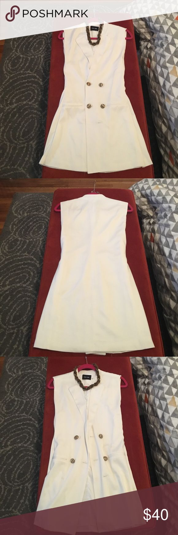 🎉 White tuxedo dress!! Free necklace!! White tuxedo dress, double breasted. Can be worn as a dress or open as a vest. Great from day tonight. Gold buttons. Comes with the free necklace in pictures. #bridalshower #allwhiteparty #bride2be #mywhitebdayparty #sundayfunday #slay DO +BE Dresses Mini
