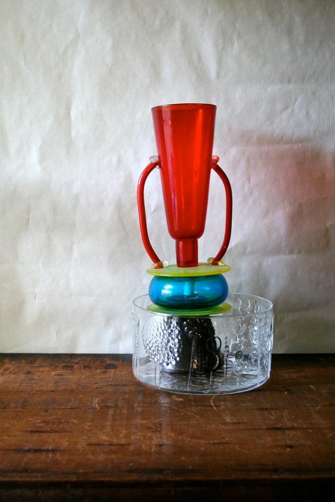 Vintage Mod Modern Iittala Finland Flora Glass Bowl Oiva Toikka via Etsy.