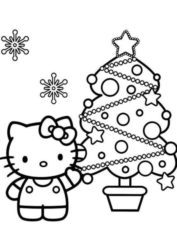 Christmas Coloring Hello Kitty Pages Tree TreeFull Size Image