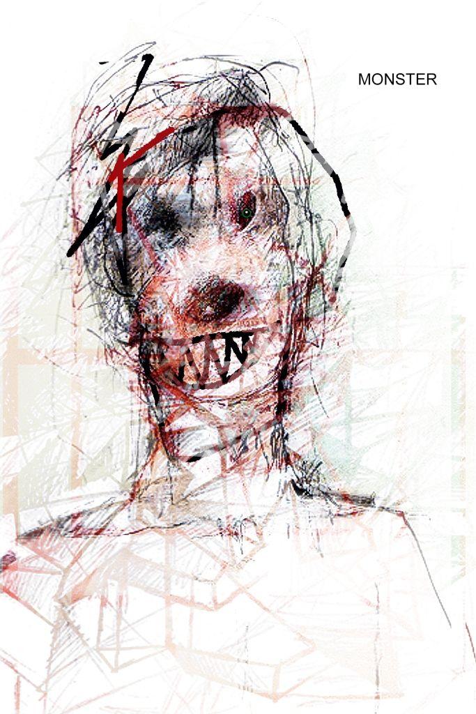 """Monster"" Artista: Quintin González, impresión digital-técnica mixta, 21.5x28 cm, 2015 + PA"