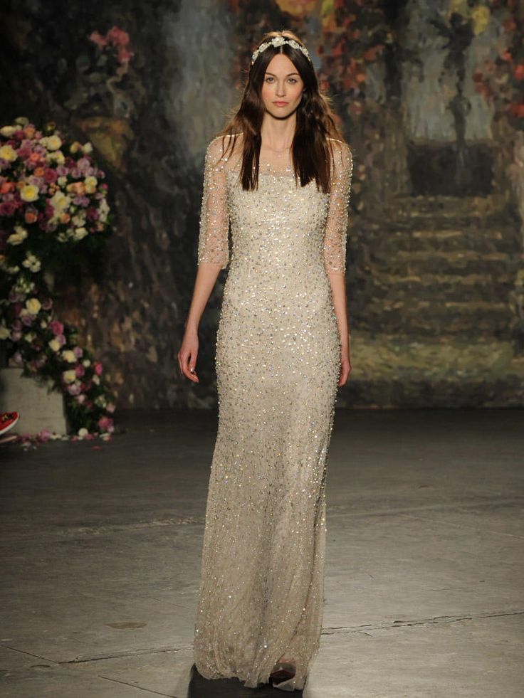 Jenny Packham neutral beaded wedding dress with sheer half sleeves from Spring 2016