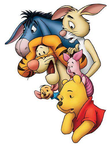 Winnie The Pooh, Piglet, Tigger, Eeyore, and Rabbit