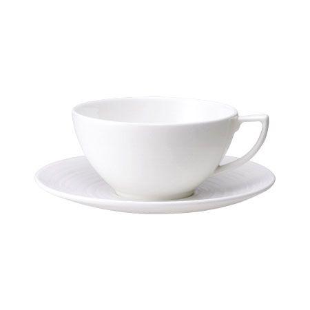 WEDGWOOD ジャスパー・コンラン ホワイト ティーカップ&ソーサー (ストラータ)