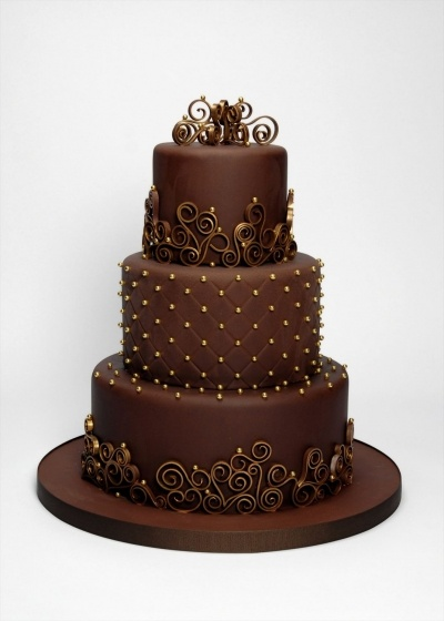 Chocolate & Gold Three Tier By 2muchsugar on CakeCentral.com