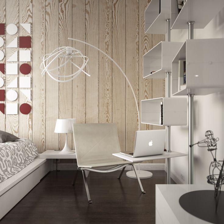 спальня с рабочим местом в дизайне квартиры 42 кв. м.