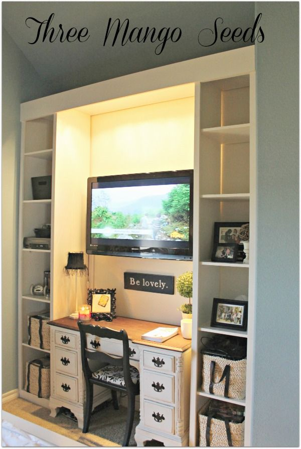"""Love this set up in a teenagers room, easy built shelves around a re-finished desk; Or, great use for those """"big screen"""" surround systems you are stuck with when you get anew TV."""