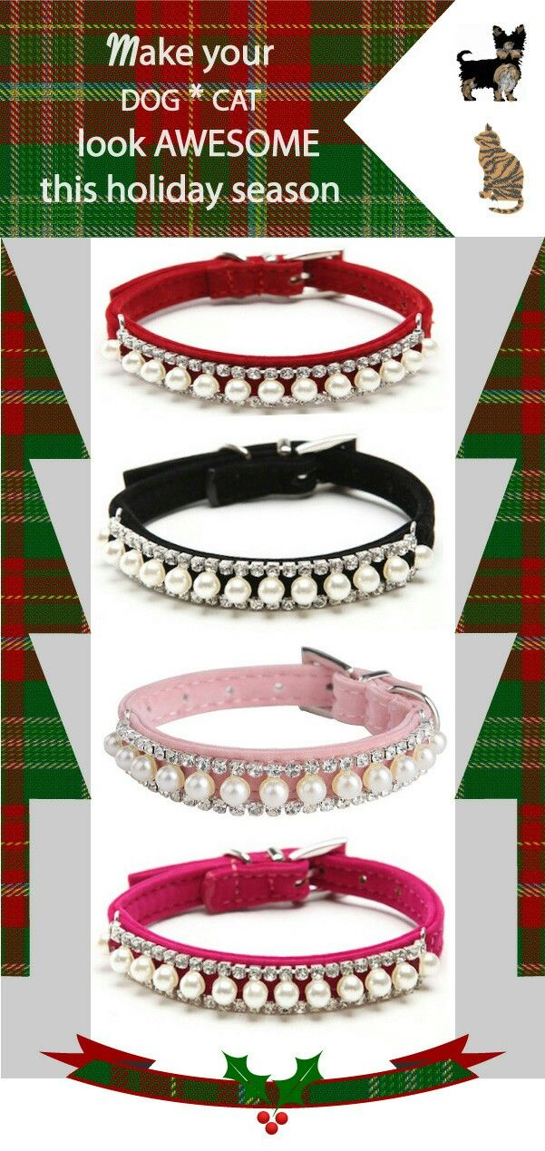 A beautifully embellished, handmade velvet collar for your pet. We love to share happy moments with our four-legged loved ones, whether it's holidays, weddings, birthdays, special occasions or simple family gatherings. All pets are precious - large, medium, small ... and tiny. Pamper you small dog or cat with this jeweled collar and they will shine in those family holiday photos. Free shipping in US.