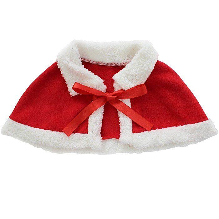 FEESHOW Niña Sombrero De Navidad Vestido Capa 3 piezas traje de Navidad Fiesta Festival rojo .2-3años.