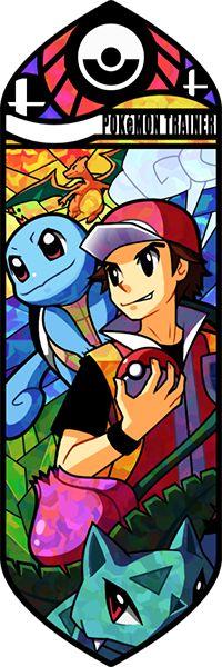Fan art Pokémon en vitrail - Sasha - Carapuce - Bulbizarre