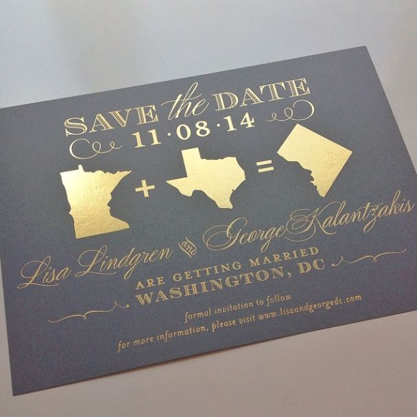 Gold foil save the date for a Washington #DC #wedding I Custom by Nico and Lala