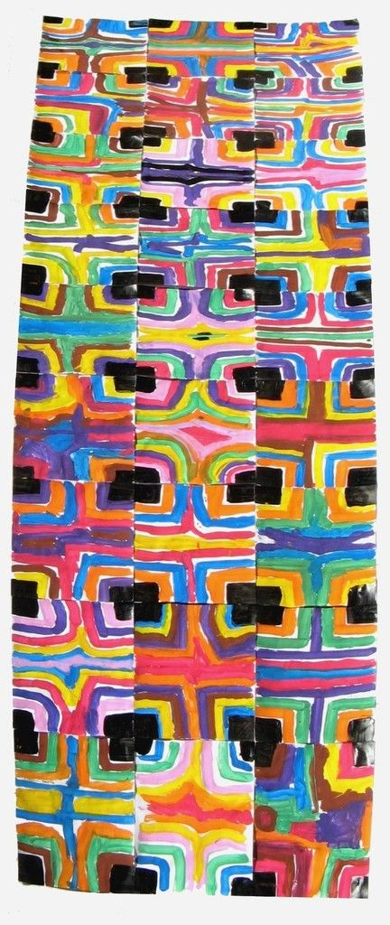 Fresque collective assemblage des 27 peintures des enfants présents cette semaine: