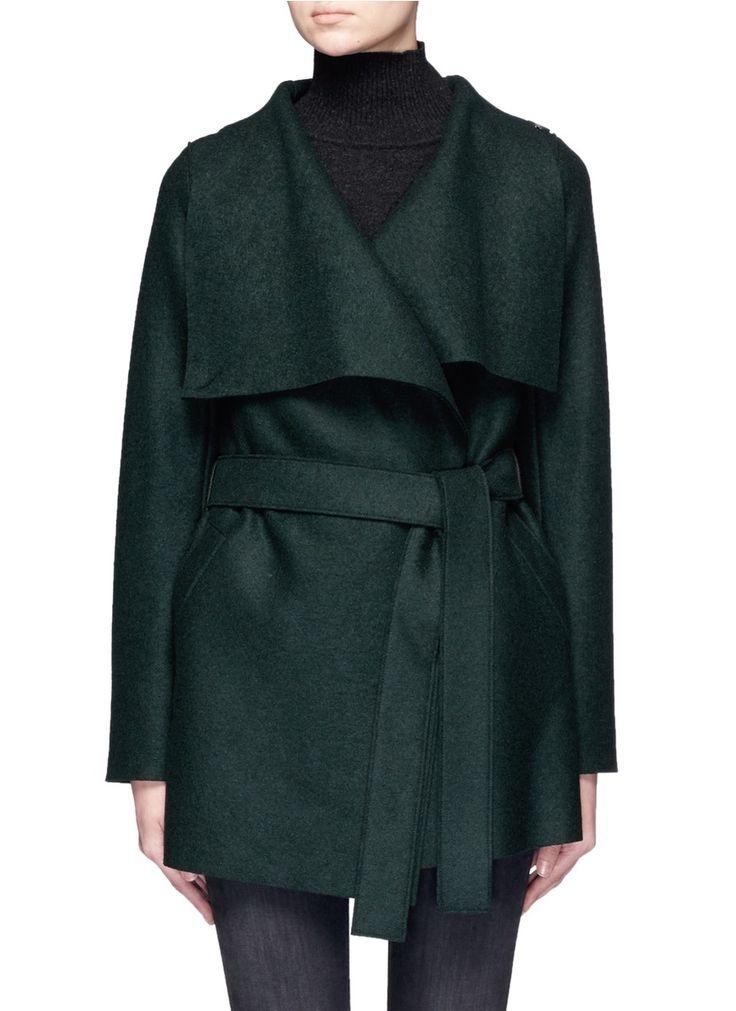 HARRIS WHARF LONDON Double Breasted Wool Short Coat. #harriswharflondon #cloth #coat