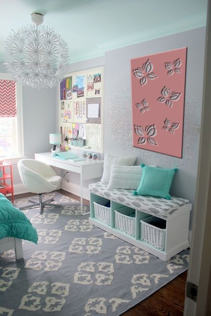 QAQ's 'Butterfly' decorative screen design imagined in color, hung on a little girl's bedroom wall. QAQ screens can be cut in any color, size, or material.