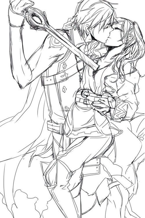 Fire Emblem: Awakening - Chrom and Avatar (female) This is such a meaningful and heartbreaking picture.