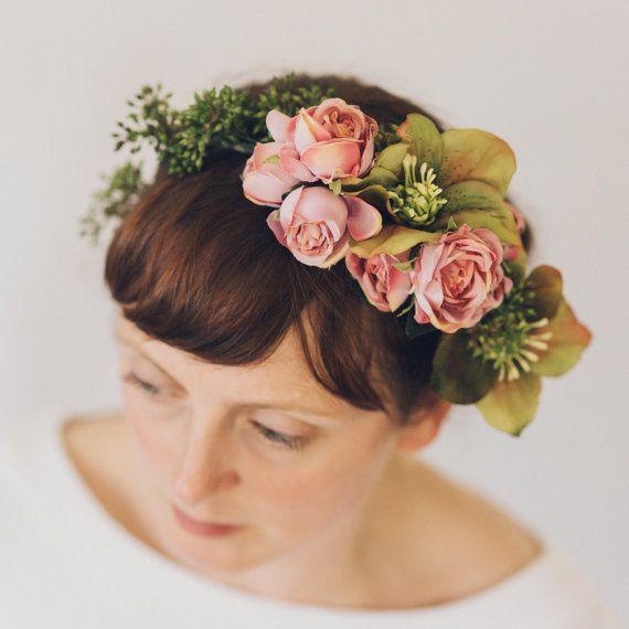Pink Rose Hellebores and Eucalyptus Silk Flower by OlannHandmade