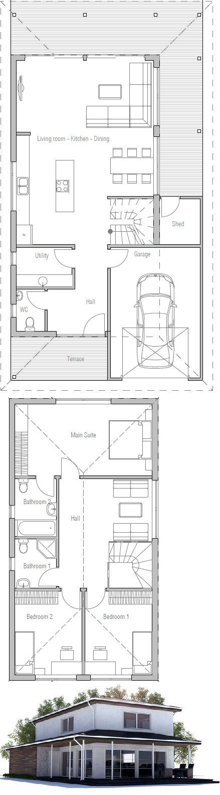 Small House Plan to narrow with three bedrooms. Large covered terrace, garage, two living areas.