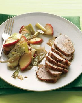 Broiled pork tenderloin gets tender and tasty in the blink of an eye; a side of cooked apples is gussied up with leeks, sherry vinegar, and honey.
