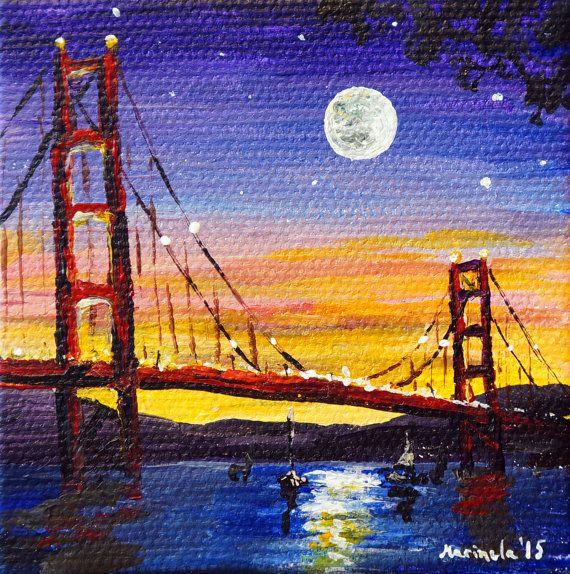 Moonshine at Golden Gate Bridge San Francisco by marinelaArts