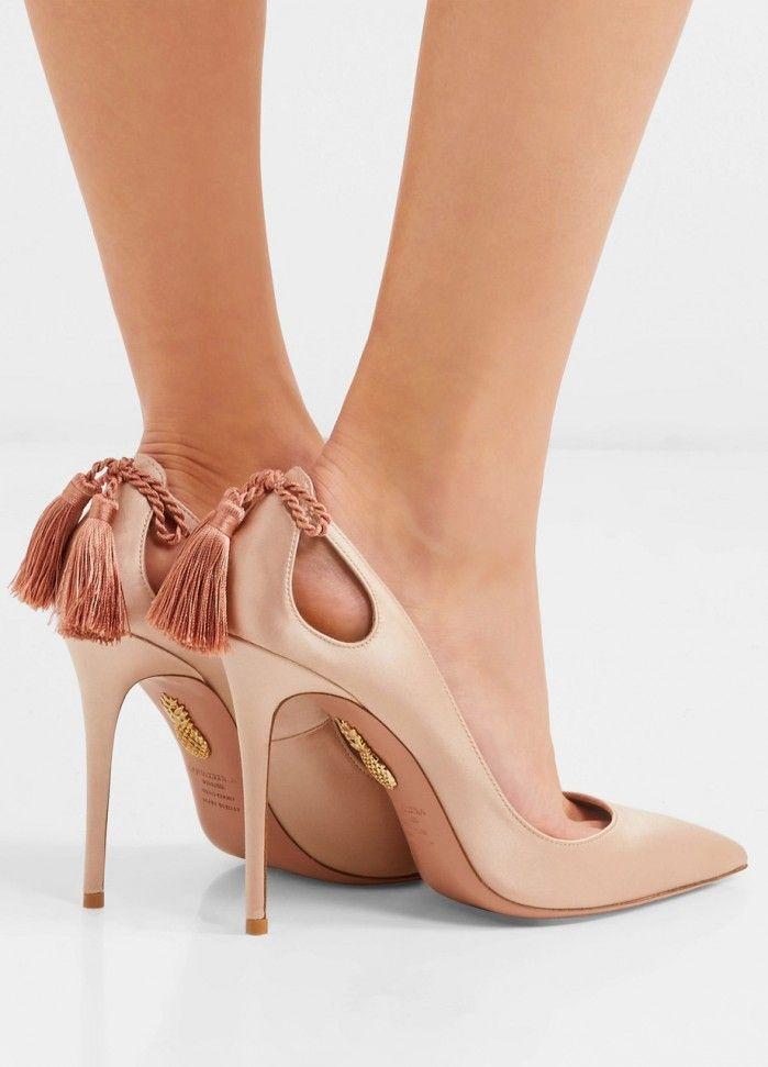 AQUAZZURA Forever Marilyn tasseled satin pumps   Buy ➜ https://shoespost.com/aquazzura-forever-marilyn-tasseled-satin-pumps/