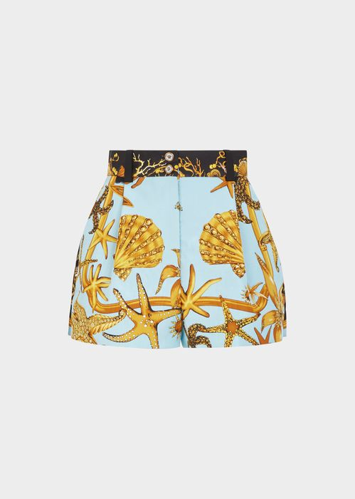 Versace Trésor de la Mer SS'92 Silk Shorts for Women | UK Online Store. Trésor de la Mer SS'92 Silk Shorts from Versace Women's Collection. A look that goes from pool to party. The iconic Trésor de la Mer print shorts are inspired by Gianni's SS'92 designs and feature a high waist and a Medusa icon button.