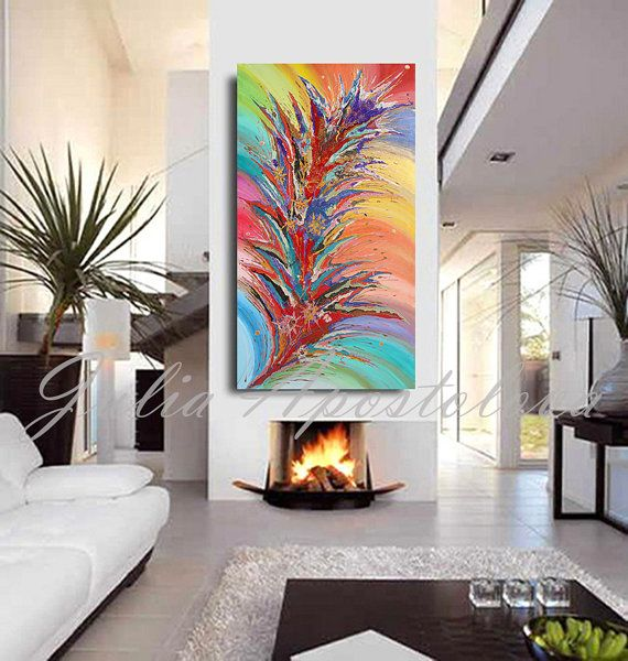 Check out Large Painting, Floral Abstract Art, Rainbow Painting, Print, Flower, Large Abstract Canvas Art, Turquoise, Red, Zen, Julia Apostolova on juliaapostolova