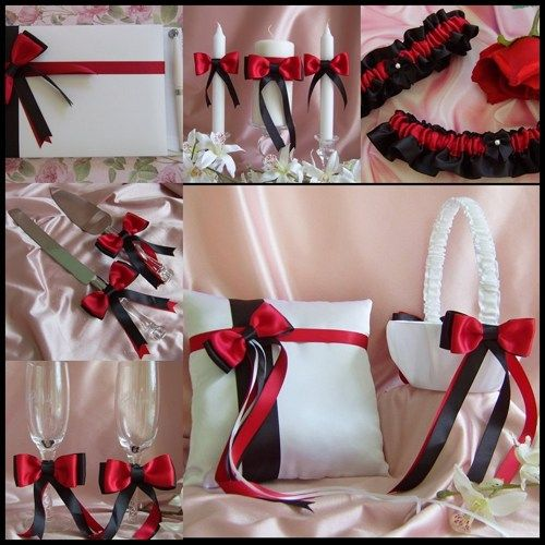 Red Black White Weddings Basket, Pillow, Guest Book, Bridal Garters, Champagne Glasses, Cake Set, Wedding Candles , Cere