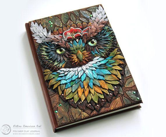 AFFICHER le point - journal d'argile polymère Owl amérindien - A6-A5