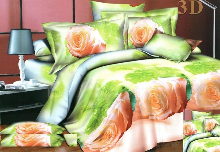 Moderní ložní 3D povlečení v zelené barvě s krémovými růžemi
