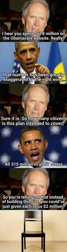 Clint Eastwood and Barack Obama discuss ObamaCare