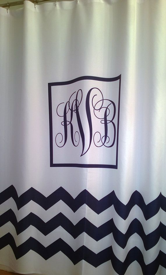 Shower Curtain White Classic Monogram YOU CHOOSE COLOR 70, 78, 84 or 90 inch Extra Long Lengths Shown in White with Navy accents