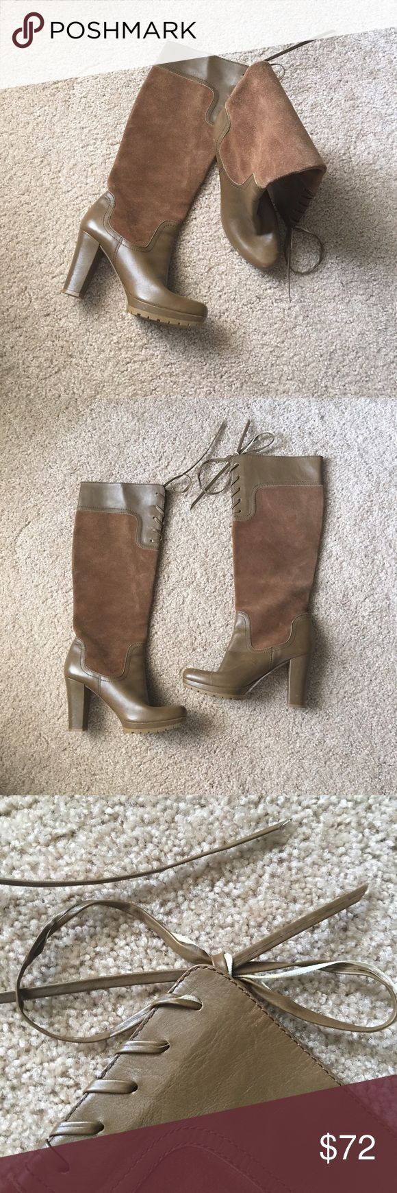 Circa Joan & David tan boots sz: 6 Awesome pair of Joan & David boots sz: 6. Bought at a local high end boutique and forgot about them. The ties are fraying but it's not nothing to worry about really. Perfect condition as you can tell I do not think they have been worn previously 💖 Joan & David Shoes Lace Up Boots