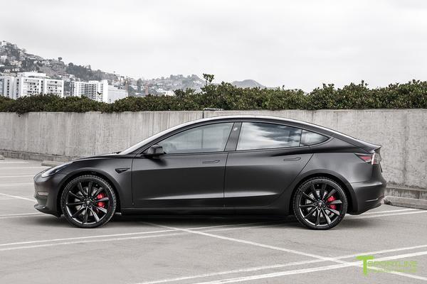 All Satin Black Performance Model 3 With 20 Tst T Sportline Tesla Model S 3 X Y Accessories Tesla Model Tesla Tesla Model S