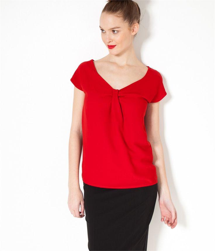 T-shirt femme noeud Rouge salsa TS - Tee shirt Femmes Camaieu